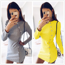 Button Long Sleeve Dresses in Autumn and Winter