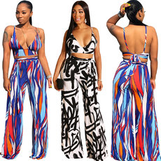 Deep V Broad Leg and Backless Two-piece Set