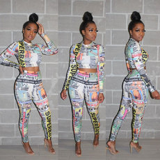 Newspaper printing long sleeve two-piece set