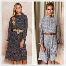 Lotus Leaf Edge Long Sleeve Dress