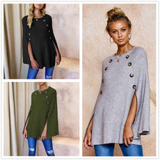 Irregular Knitted Sweaters with Buttons in Autumn and Winter