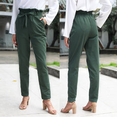 Butterfly-tied high-waist trousers