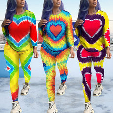 Multi-colour printing long sleeve two-piece set