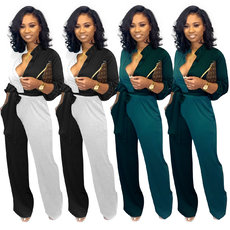 Colour-matched long-sleeved Jumpsuits