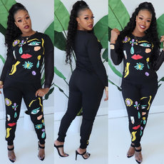 Location Printed Long Sleeve Top and Trousers Two-piece Set