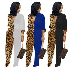 Leopard-print long-sleeved straight Jumpsuits