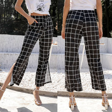 Colour-bumping checked high-waist casual trousers