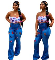 Butterfly embroidered hot drilled elastic bell jeans