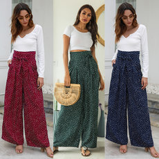 Butterfly-knotted wide-legged trousers with high waist and loose bow