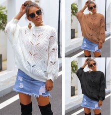 Hollow-out long-sleeved knitted bat sleeve sweater