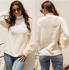 Warm white vertical collar wool long sleeve sweater