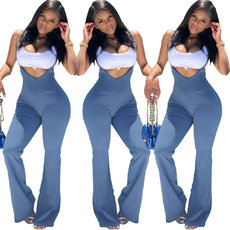 Pure colour suspender zipper Jumpsuits