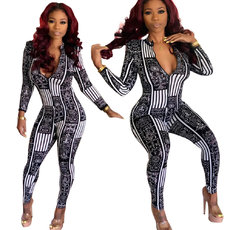 Exquisite printed long-sleeved Jumpsuits
