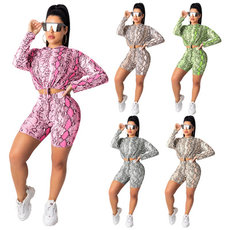 Serpentine printed long sleeve bandage trousers two-piece suit