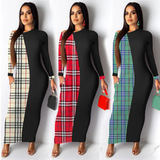 Fashion checked print stitching dress