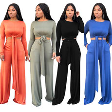 Pure color strap-on wide-legged pants sports suit