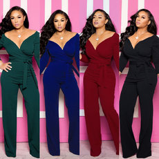 Fashion V-tie Jumpsuits