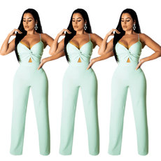 Fashion pleated hollow sling Jumpsuits