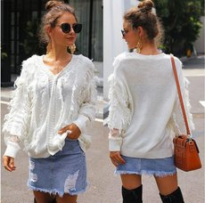 V-neck lace stitching loose fringed knitted sweater