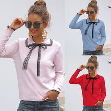 Flip-collar lace sleeve bow sweater