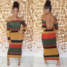 Long-sleeved dress with colour wrapped breast and bare back