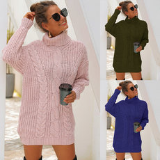 Coarse-knitted high-collar twist knitted sweater dress