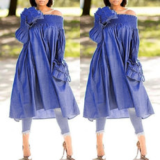 Loose-necked denim side pocket long-sleeved dress