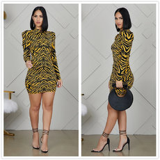 Tiger print bubble sleeve wrapped hip dress
