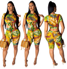 Fashion Leisure Printed Two-piece Set