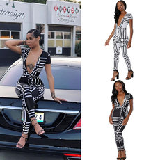 Leisure black and white stripes Jumpsuits