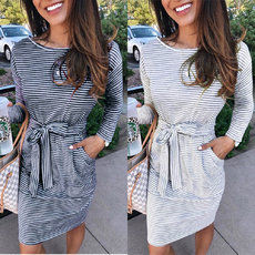 Striped side pocket tied dress