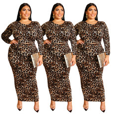 Leopard Print Long Sleeve fashion two-piece Suite