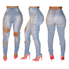 High waist, tight and micro-elastic jeans
