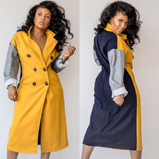 Tri-colour stitched long overcoat