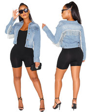 Fashion fringed jeans jacket