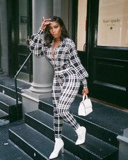 Stripe lattice printed casual Jumpsuits