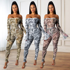 Printed U.S. Dollar Couplet Jumpsuits