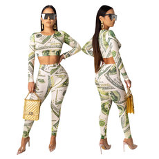 Long sleeve two-piece set in US dollar printing