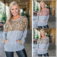 Leopard-print round-necked long-sleeved jacket