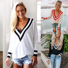 V-collar stitching striped long-sleeved knitted sweater