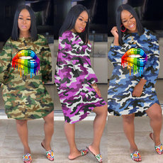 Colour lip drop camouflage pocket personality dress