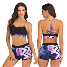 Sports vest split flat-angle bikini suit