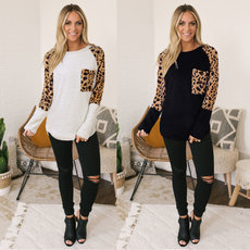 Fashion leopard panel long sleeve T-shirt
