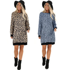 Leopard knitted sweater dress
