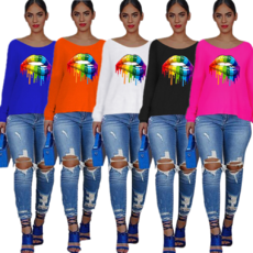 Digital printed colorful lips long sleeve T-shirt