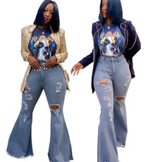 Wide leg washed denim elastic flared pants with holes