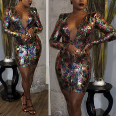 Sexy flannelette bead piece colorful printed dress