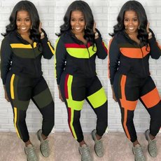 Color block panel hood zipper casual two piece set