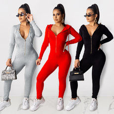 Fashion zipper Hoodie Jumpsuit