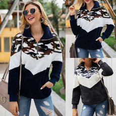 Fashion camouflage zipper thickened pocket Plush sweater